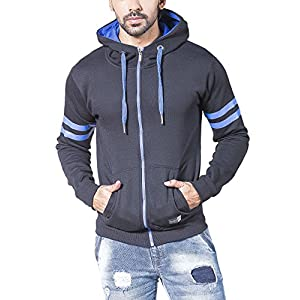 Alan Jones Clothing Solid Men's Zipper Hooded Sweatshirt