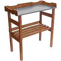 Bois Table Table de rempotage avec plateau de travail Métal–92x 78cm–Jardin Table Jardinier