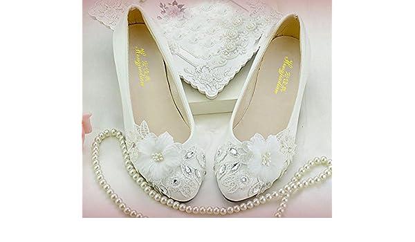JINGXINSTORE Weiße Spitze Blüte Hochzeit Schuhe Braut