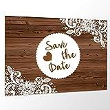 10 x Save The Date Karte 'Vintage Holz' Spitze Hochzeit Vorankündigung Postkarte