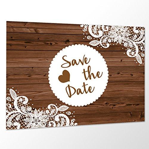 10 x Save The Date Karte 'Vintage Holz' Spitze Hochzeit Vorankündigung Postkarte (Hochzeit Date Save The)