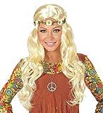 Karneval Klamotten Kostüm Perücke Dame blond mit Blumenstirnband Zubehör Fasching Karneval
