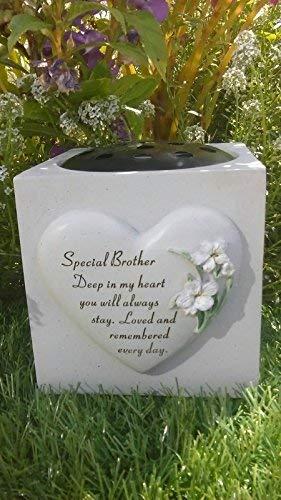 David Fischhoff Brother Memorial Vase (Rose Bowl) Heart & Lilys Graveside -