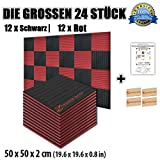 Super Dash Kombination (24 Pack) von 50 X 50 X 2 cm Akustikschaumstoff Noppenschaumstoff Akustik Dämmmatte Schallisolierung Schaumstoff Polster Fliesen SD1035 (ROT & SCHWARZ)