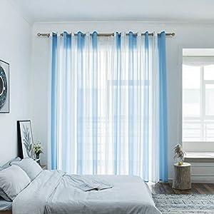 Top Finel 2er Set Transparent Blau Weiß Streifen Voile Gardinen Mit Ösen  Dekoration Vorhänge