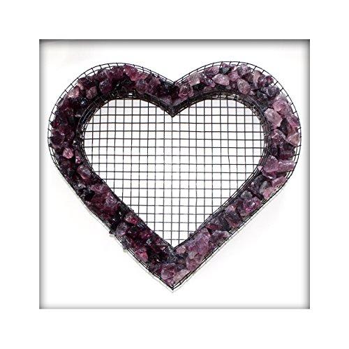 Bellissa Herz Gitter Pflanzschale Grabschmuck Grabgestaltung mit Glassplitt Farbe Violett