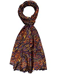 Lorenzo Cana Italian Scarf Pashmina Silk Cotton Shawl 75'' x 28'' Paisley Yellow Blue Orange 8910911
