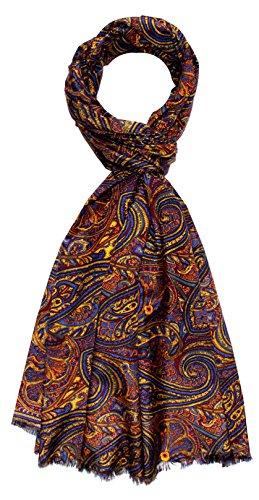 Lorenzo Cana - Luxus Designer Schal Schaltuch aus Baumwolle mit Seide aufwändig bedruckt Paisley Muster Marken Tuch Schaltuch 70 x 190 cm Designer-schal