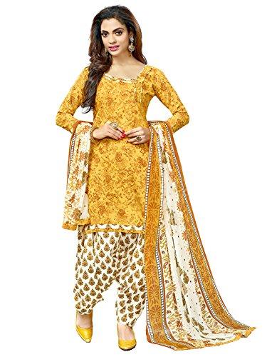 Kanchnar Women'S Cotton Dress Material (487D2003_Yellow_Free Size)