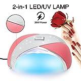Nagellack 36W UV LED, MINILOP Nageltrockner Echtes Leder und ABS Kunststoff Material Nagel Gel Aushärtung Lampe Licht Pediküre Maniküre Nagel Automatik Sensor Kunst Schönheit Werkzeug (Rose)
