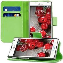 kwmobile Elegante funda de cuero sintético para el LG Optimus L7 II con cierre magnético y función de soporte en verde