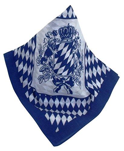 Teichmann Blau-weißes Nickituch | Kopftuch im Bayern-Look mit bayerischem Wappen | Bandana aus 100{4b0f642f4798841b8a35e795bac39cc45b90d0f4b67b6e4c2d8bc4b07295fbe2} Baumwolle | Halstuch 53 x 53 cm