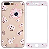 iPhone 8 Plus Hülle, iPhone 7 Plus Hülle + Panzerglas, ZXK CO TPU Silikon Hülle Schutzhülle mit Muster Protective Backcover Case mit 9H Hartglas Displayschutz Panzerglasfolie für Apple iPhone 7 Plus/8 Plus 5,5Zoll-Begonie Blumen