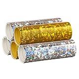 PartyMarty Silber & Gold Mix - Metallic Luftschlangen im 5er Sparpack - 5 Rollen mit je 18 holografi…
