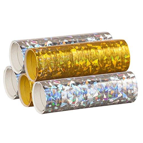Silber & Gold Mix - Metallic Luftschlangen im 5er Sparpack - 5 Rollen mit je 18 holografisch-glitzernden Luftschlangen - für Silvester, Karneval, Fasching, Geburtstag, Silvester, Dekoration - PARTYMARTY GMBH®