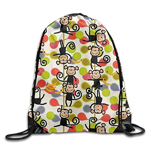 Estrange Monkeys Playing Printed Youth Drawstring Backpack Teens Heavy Duty Daypack Tote Party 16.9