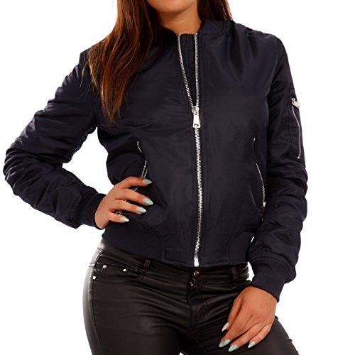 Young-Fashion Damen Bomberjacke Zipper Fliegerjacke Pilotenjacke, Farbe:Blau;Größe:38