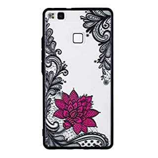 LMFULM® Hülle für Huawei P9 Lite 2016 / VNS-L31 (5,2 Zoll) Silikon Soft TPU Grenze und Hart PC Zurück Handyhülle Diagonal Blumen Muster Transparent Rückschale Cover für Huawei P9 Lite 2016