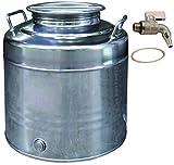 Contenitore fusto olio acciaio inox Maffei serie Fusto 30 lt basso bidone completo di rubinetto e guarnizione