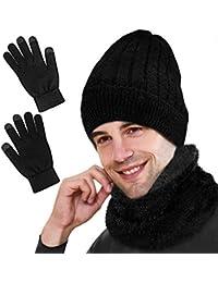 GIKPAL Bufanda Gorro Guantes Set Calentar Sombreros Gorras Beanie de Punto para Hombre Unisexo
