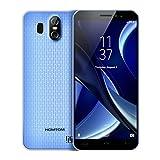 HOMTOM S16 Smartphones Débloqué Android 7.0, Écran 5,5 Pouces(18:9), 13MP+2MP Double Caméra Arrière, 2 Go RAM+16 Go ROM, Double SIM, MTK6580 Quad Core, Batterie 3000mAh, 3G Empreinte Digitale Téléphones Portables pas cher (Bleu)