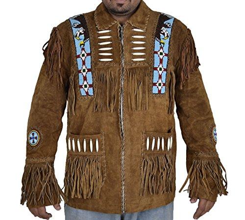 classyak Herren Cowboy Wildleder Leder Jacke Eagle Perlen Gr. Large, Braun, Wildleder (Perlen-leder-jacke)