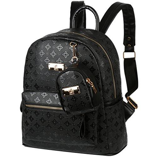 Vbiger Rucksack Frauen Leder Rucksack Schulrucksack und Handtasche für Damen (Schwarz2)
