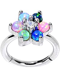 """Body Candy Steel Iridescent Blue Pink Green Accent Flower Power Hinged Segment Ring 16 Gauge 5/16"""""""