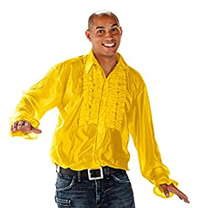 Unbekannt Camisa de Manga Larga Camisa de Fiesta Volantes 70er 80 Amarillo Retro Camisa de Manga Larga Camisa de Fiesta temática años Talla M/L