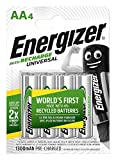 Energizer Recharge Universal Rechargeable AA Batteries, 4 Pack