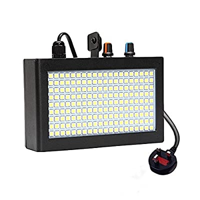 Strobe Light, GLIME 180 LED Flash Lights Stage Lights Disco DJ Light Stage Lighting Auto Sound Activated Adjustable Flash Speed Control for Wedding KTV Party Show Club Pub Parties Decoration 35W Black by GLIME