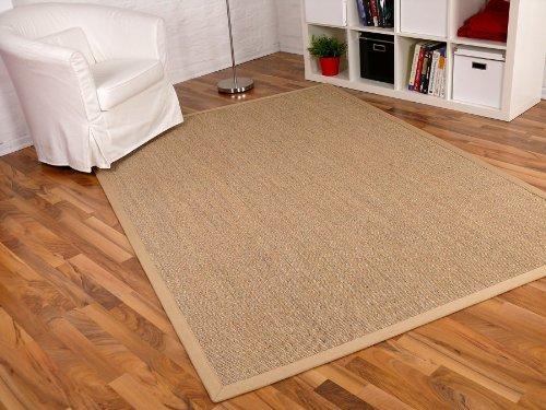 Sisal Astra Natur Teppich Nuss Bordüre Beige in 16 Größen
