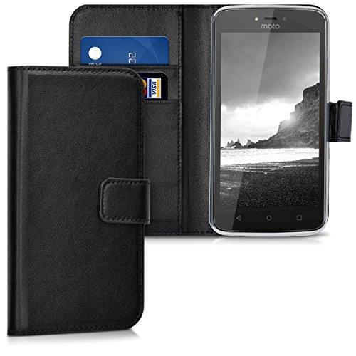 kwmobile Hülle für Motorola Moto C - Wallet Case Handy Schutzhülle Kunstleder - Handycover Klapphülle mit Kartenfach und Ständer Schwarz