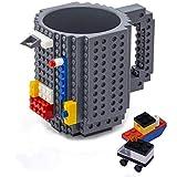 VANUODA Build-on Brick Mug, Costruire sul Mattone Tazza di caffè, Tazza Regalo per Uomini Ragazzo, Perfetto per Il Regalo di Pasqua (Grigio)
