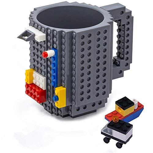 VANUODA Build on Brick Mug, Building Blocks Tasse Puzzle Becher, Geschenk zur Einschulung Schulanfang, Weihnachten Geschenk Idee (Grau)
