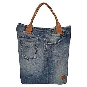 Denim & Leder Handtasche Damen Schultertasche Jeansstoff blau Shopper groß Jeanstasche mit Ledergriffe Geschenk für Mama Frauen Mädchen