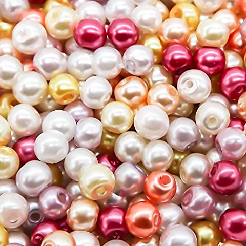 TOAOB 1000 Pieces 4mm Round Glass Pearl Beads with Case for Jewelry Making, Assorted Colors