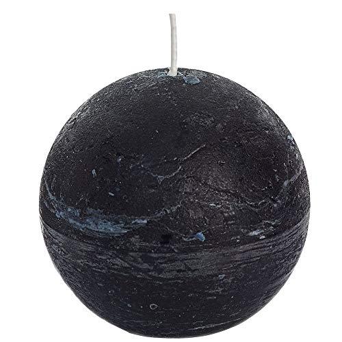 Spaas - Velas esféricas (6 Unidades, Cera de parafina, 100 mm de Profundidad), Color Negro