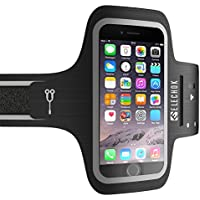 ELECHOK Schweißfest Sport Armband Fitness Universell Handyhülle iPhone-ID Touch-Mit Schlüsselhalter, Kabelfach, Kartenhalter, für iPhone 8/7/6/6S/5/SE, Galaxy S7/S6 Laufen Joggen bis 5.1 Zoll-Schwarz