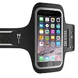 ELECHOK Schweißfest Sport Armband Fitness Universell Handyhülle iPhone-ID Touch-Mit Schlüsselhalter, Kabelfach, Kartenhalter, für iPhone 8/7/6/6S/5/SE, Galaxy S7/S6 edge Laufen Joggen bis 5.1 Zoll-Schwarz