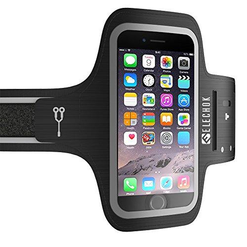 Schweißfest Sport Armband Fitness Universell Handyhülle für iPhone 11 Pro/11/XS/X/8 Plus/8/7 Plus/7, Verlängerungsband, Schlüsselhalter, Kartensteckplatz, Kopfhörerloch, Bis zu 6,1 Zoll