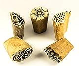 5 kleine Holz-Stempel Textilstempel, handgeschnitzt, Motive sortiert, für Textildruck oder als Dekoobjekt