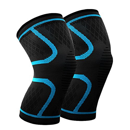Beskey Knee Support (Pair) Anti Slip Knee Brace Super Elastic Breathable Knee Compression Sleeve Help Joint Pain Relief Arthritic Sufferer Recovery from Injuries Fit Sports (XL, Blue)