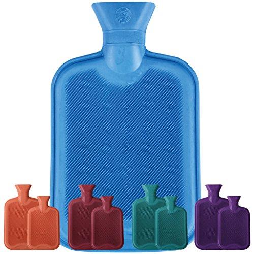Wärmflasche 1 Liter oder 2 Liter (Auswahl: Größe: 2 Liter/Farbe: blau - aquablau)