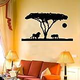 INDIGOS WG20551-61 Wandtattoo w551 Afrika / Steppe Löwe mit Tiger 96 x 49 cm, grün