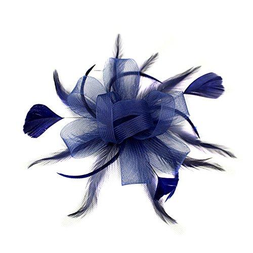 Blue Vessel Neue Kinder Tanz Haar Feder Feder Kopf Blume Plus Perlen Blume Netz Garn Haarband Kleid Braut Kopfschmuck (navy)