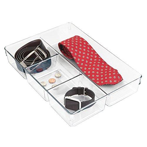 InterDesign Linus Schubladenbox für Schrank oder Schminktisch, 33,0 cm x 22,9 cm x 5,7 cm Aufbewahrungsbox mit 4 Fächern aus Kunststoff, durchsichtig - 4