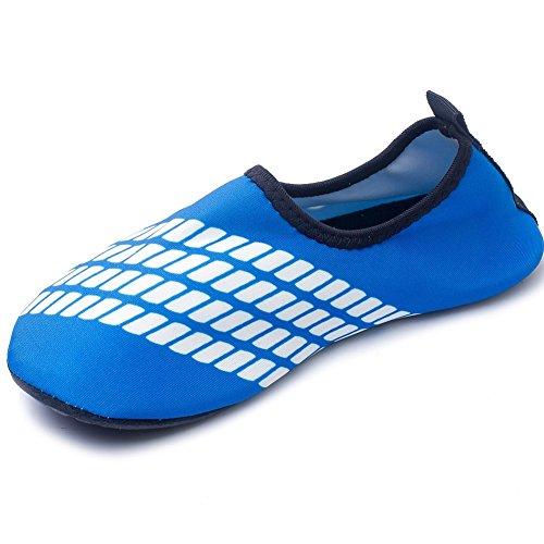 [ Kinder Badeschuhe Elastizität ] Unisex Stripe Surfschuhe Wattschuhe Strandschuhe Aqua Schuhe für Kinder Rutschfeste Sohlen -iisport® Blau