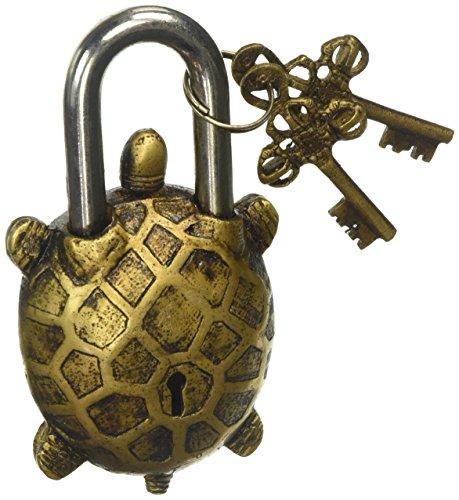 Candado tipo tortuga estilo antiguo con cerradura con llave - latón h