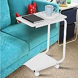 Mobile Beistelltisch Sofa Snack Holz modernes Tablett Couch Konsole Ständer Ende Couchtisch Beistelltisch Laptop-Halter C-Form Betttisch Schreibtisch weiß